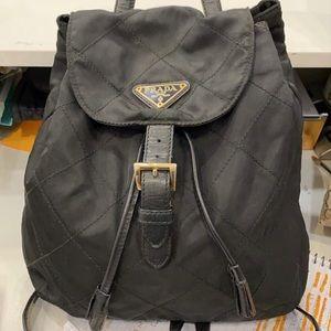Prada Designer Luxury Backpack with Gold Hardware